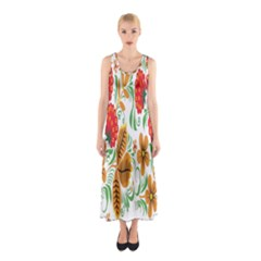 Flower Floral Red Yellow Leaf Green Sexy Summer Sleeveless Maxi Dress