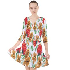 Flower Floral Red Yellow Leaf Green Sexy Summer Quarter Sleeve Front Wrap Dress