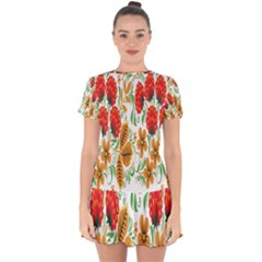 Flower Floral Red Yellow Leaf Green Sexy Summer Drop Hem Mini Chiffon Dress
