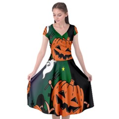 Happy Halloween Cap Sleeve Wrap Front Dress