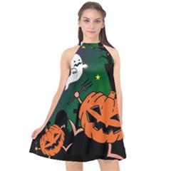 Happy Halloween Halter Neckline Chiffon Dress