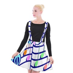 Music Note Tone Rainbow Blue Pink Greeen Sexy Suspender Skater Skirt by Mariart
