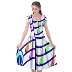 Music Note Tone Rainbow Blue Pink Greeen Sexy Cap Sleeve Wrap Front Dress by Mariart
