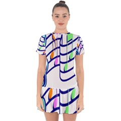 Music Note Tone Rainbow Blue Pink Greeen Sexy Drop Hem Mini Chiffon Dress
