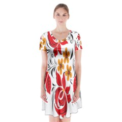 Flower Red Rose Star Floral Yellow Black Leaf Short Sleeve V Neck Flare Dress by Mariart