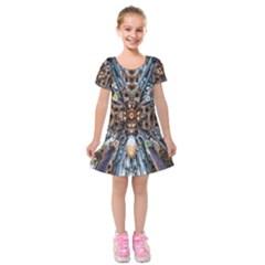 Iron Glass Space Light Kids  Short Sleeve Velvet Dress by Mariart