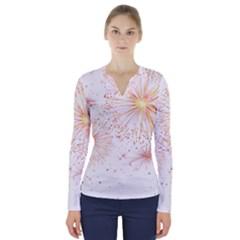 Fireworks Triangle Star Space Line V Neck Long Sleeve Top by Mariart
