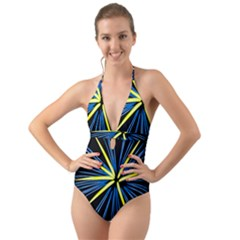 Fireworks Blue Green Black Happy New Year Halter Cut Out One Piece Swimsuit by Mariart