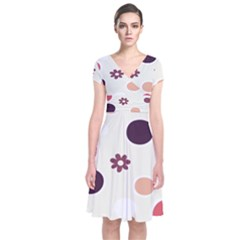 Polka Dots Flower Floral Rainbow Short Sleeve Front Wrap Dress by Mariart