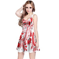 Red Flower Floral Leaf Reversible Sleeveless Dress