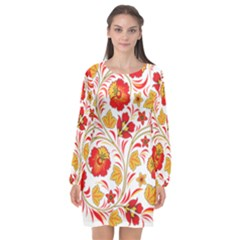 Wreaths Flower Floral Sexy Red Sunflower Star Rose Long Sleeve Chiffon Shift Dress  by Mariart