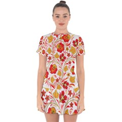 Wreaths Flower Floral Sexy Red Sunflower Star Rose Drop Hem Mini Chiffon Dress by Mariart
