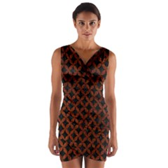 Circles3 Black Marble & Reddish Brown Leather (r) Wrap Front Bodycon Dress by trendistuff