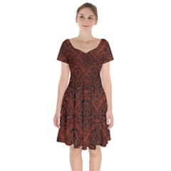 Damask1 Black Marble & Reddish Brown Leather Short Sleeve Bardot Dress by trendistuff