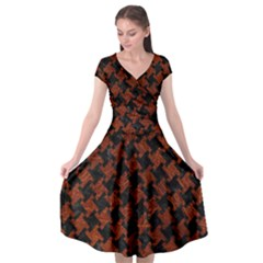 Houndstooth2 Black Marble & Reddish Brown Leather Cap Sleeve Wrap Front Dress
