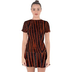 Skin4 Black Marble & Reddish Brown Leather (r) Drop Hem Mini Chiffon Dress by trendistuff