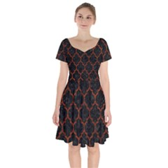 Tile1 Black Marble & Reddish Brown Leather (r) Short Sleeve Bardot Dress by trendistuff