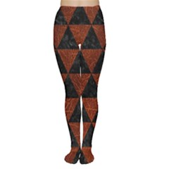 Triangle3 Black Marble & Reddish Brown Leather Women s Tights by trendistuff