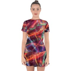 Abstract Shiny Night Lights 4 Drop Hem Mini Chiffon Dress by tarastyle