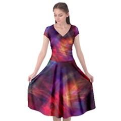 Abstract Shiny Night Lights 23 Cap Sleeve Wrap Front Dress by tarastyle