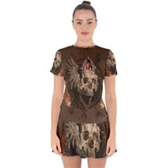 Awesome Creepy Skull With Rat And Wings Drop Hem Mini Chiffon Dress by FantasyWorld7