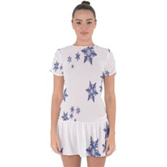 Star Snow Blue Rain Cool Drop Hem Mini Chiffon Dress by AnjaniArt