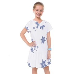 Star Snow Blue Rain Cool Kids  Drop Waist Dress by AnjaniArt