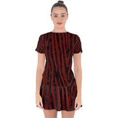 Skin4 Black Marble & Reddish Brown Wood Drop Hem Mini Chiffon Dress by trendistuff