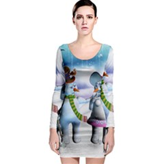Funny, Cute Snowman And Snow Women In A Winter Landscape Long Sleeve Bodycon Dress by FantasyWorld7