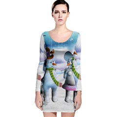 Funny, Cute Snowman And Snow Women In A Winter Landscape Long Sleeve Velvet Bodycon Dress by FantasyWorld7
