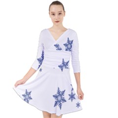 Star Snow Blue Rain Cool Quarter Sleeve Front Wrap Dress	 by AnjaniArt