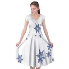 Star Snow Blue Rain Cool Cap Sleeve Wrap Front Dress