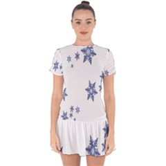 Star Snow Blue Rain Cool Drop Hem Mini Chiffon Dress