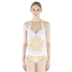 Fireworks Light Yellow Space Happy New Year Halter Swimsuit by AnjaniArt