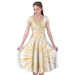 Fireworks Light Yellow Space Happy New Year Cap Sleeve Wrap Front Dress by AnjaniArt