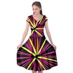 Fireworks Pink Red Yellow Black Sky Happy New Year Cap Sleeve Wrap Front Dress