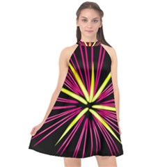 Fireworks Pink Red Yellow Black Sky Happy New Year Halter Neckline Chiffon Dress