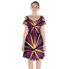 Fireworks Pink Red Yellow Black Sky Happy New Year Short Sleeve Bardot Dress