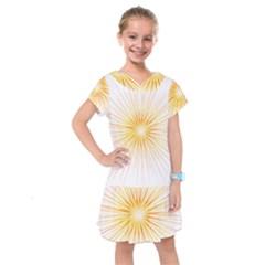Fireworks Light Yellow Space Happy New Year Red Kids  Drop Waist Dress by AnjaniArt