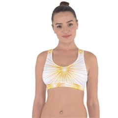 Fireworks Light Yellow Space Happy New Year Red Cross String Back Sports Bra by AnjaniArt