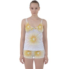 Fireworks Light Yellow Space Happy New Year Red Tie Front Two Piece Tankini by AnjaniArt