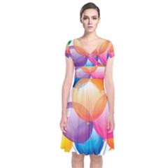 Birthday Happy New Year Balloons Rainbow Short Sleeve Front Wrap Dress by AnjaniArt