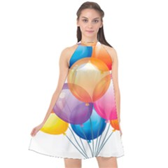 Birthday Happy New Year Balloons Rainbow Halter Neckline Chiffon Dress