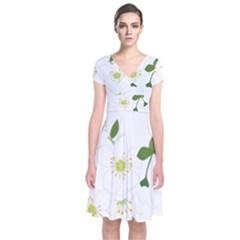 Flower Floral Sakura Short Sleeve Front Wrap Dress