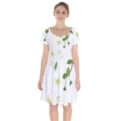 Flower Floral Sakura Short Sleeve Bardot Dress