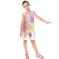 Happy New Year City Semmes Fireworks Rainbow Red Blue Yellow Purple Sky Kids  Sleeveless Dress