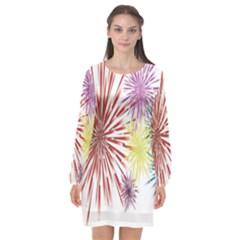Happy New Year City Semmes Fireworks Rainbow Red Blue Yellow Purple Sky Long Sleeve Chiffon Shift Dress