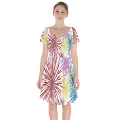 Happy New Year City Semmes Fireworks Rainbow Red Blue Yellow Purple Sky Short Sleeve Bardot Dress by AnjaniArt