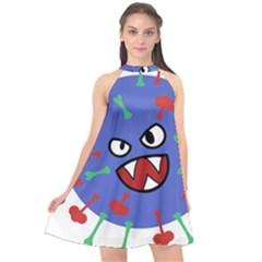 Monster Virus Blue Cart Big Eye Red Green Halter Neckline Chiffon Dress