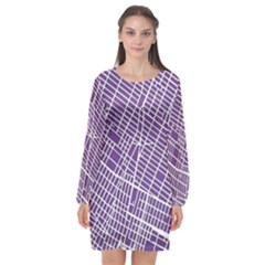 New York Map Art City Street Purple Line Long Sleeve Chiffon Shift Dress